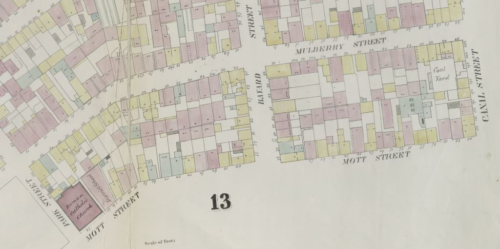Perris Fire Insurance Map, New York City, 14th Ward, 1857.  Plate 14 (Mulberry Street between Park and Canal Streets). New York Public Library