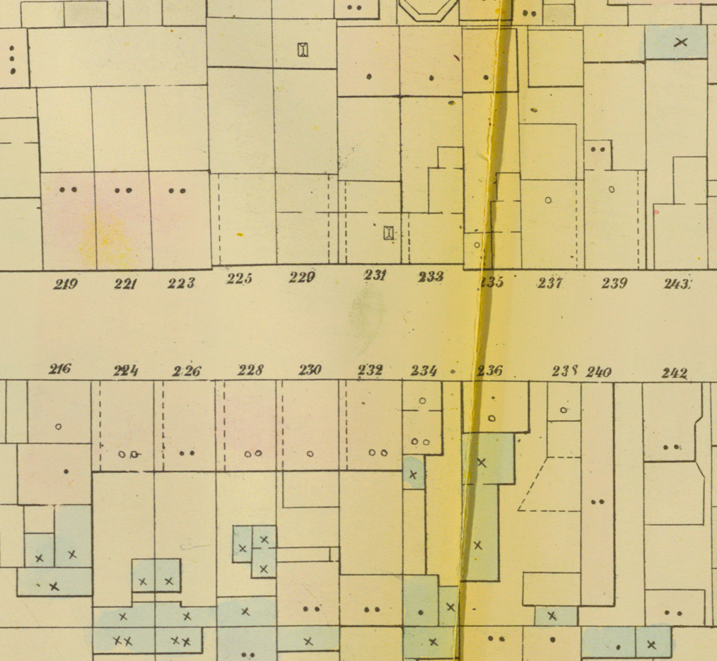 Perris Fire Insurance Map, New York City, 1857, Plate 24: 14th Ward (detail for Mulberry Street between Prince and Spring Streets).