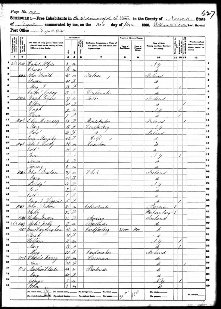 1860 Federal Census, 14th Ward, 3rd District, 3rd District. The Cunningham household is #1550.