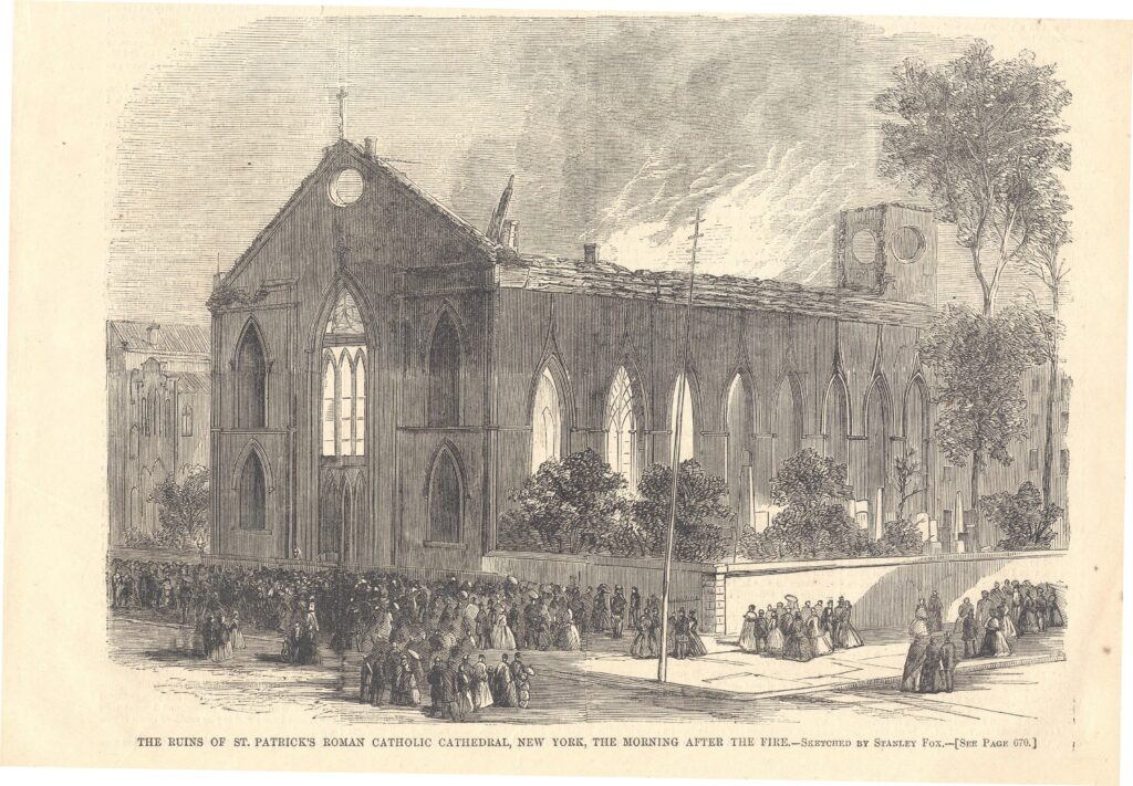 St. Patrick's (Old)Cathedral was destroyed by fire on 22 October 1866.  John T. Ridge Collection (AIA.068), Archives of Irish America, New York University.