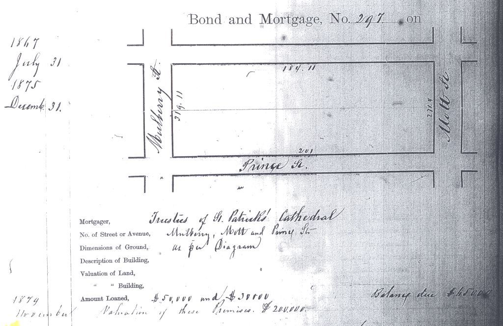 The Trustees of St. Patrick's Cathedral had two mortgages (totaling $80,000) with the Emigrant Industrial Savings Bank in the 1860s and 1870s.  Bond and Mortgage No. 297, Emigrant Savings Bank Records, New York Public Library.