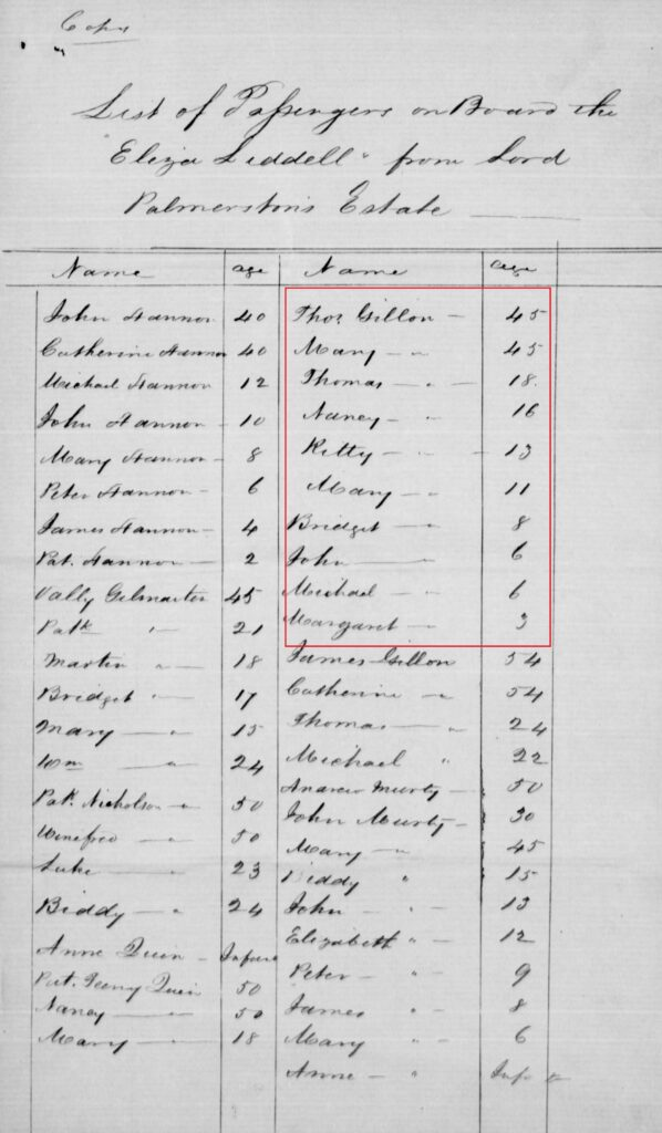 Thomas Gillen and his family listed as passengers on the 'Eliza Liddell' in 1847.