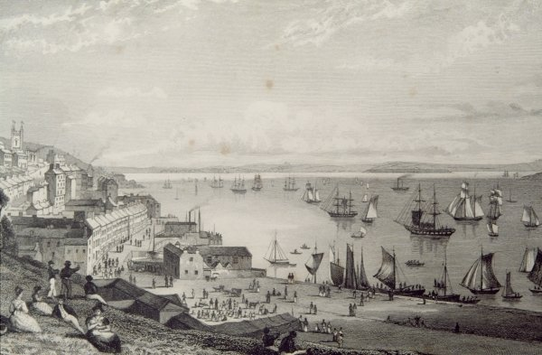 View of Cobh Harbour, looking towards Rostellan, County Cork in the 1830s. Engraving by William Henry Bartlett from 'Scenery and Antiquities of Ireland' by George Virtue, 1860s
