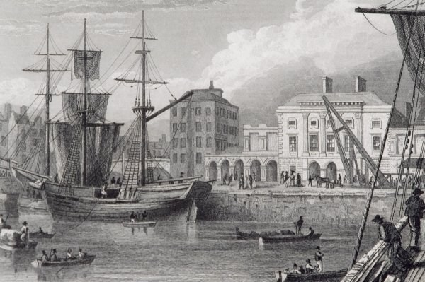 The Custom House, Limerick in the 1830S. Engraving by William Henry Bartlett from Scenery and Antiquities of Ireland by George Virtue (1860s)