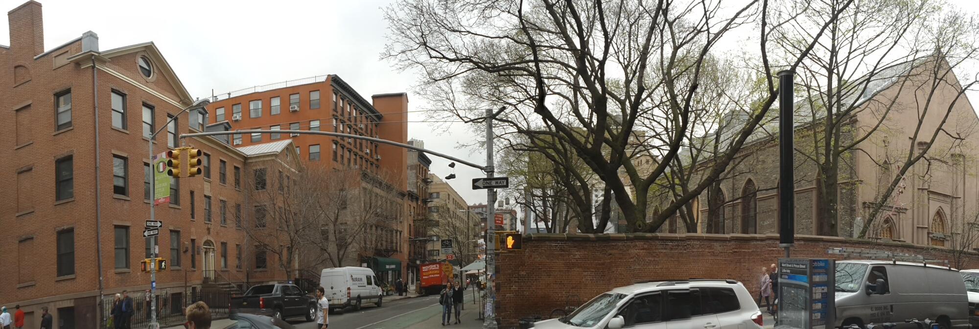 Prince Street corner of Mott Street, spring 2015