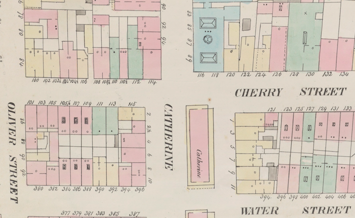 Intersection of Cherry and Catherine Streets, Source: NYPL, NY Fire Insurance Maps