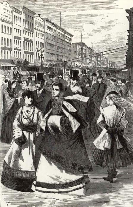 Broadway, 1868. Harper's Weekly, February 15, 1868.