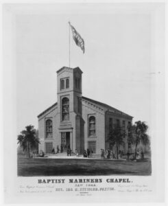 First Baptist Mariners Chapel at 234-236 Cherry Street. (Source: Metropolitan Museum of Art - lithograph https://archive.org/details/mma_baptist_mariners_chapel_new_york_352772)