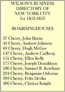 Boarding Houses 1852
