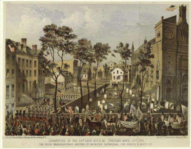 The 69th Regiment Parades by St. Patrick's Cathedral Source: New York Public Library
