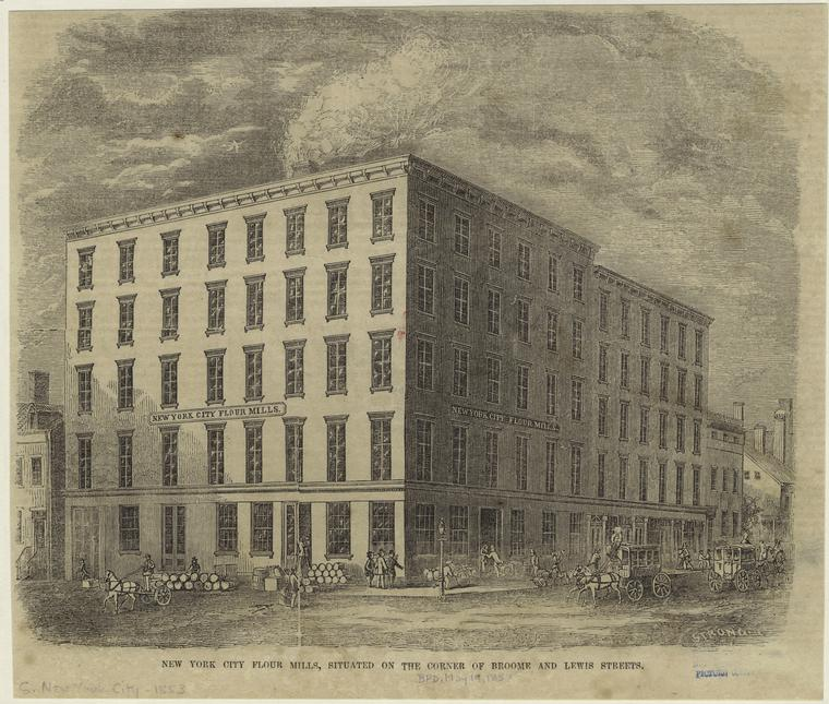 New York City Flour Mills in 1853. New York Public LIbrary Picture Collection ID 800288.