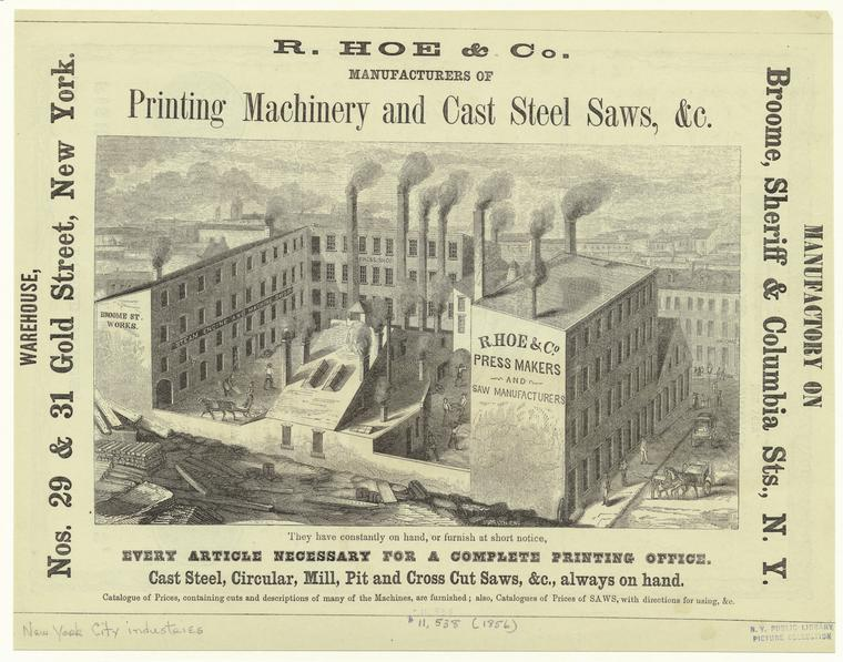 The Hoe Company's Broome Street Works in 1856. New York Public Library ID 805508