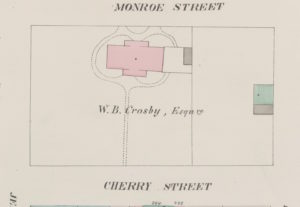 1857 Perris map showing Crosby property bounded by Cherry, Monroe, Jefferson and Clinton Streets. (Source: nypl.digitalcollections.510d47e0-bf50-a3d9-e040-e00a18064a99.001.g-e1462398933352.jpg File type: image/jpeg