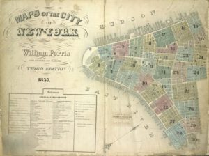 Map of Manhattan and piers in 1857 by William Perris. (Source: New York Public Library digital collections.)